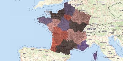 Gemeentekaart Frankrijk 2017
