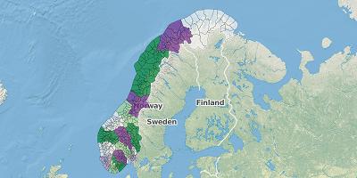 Gemeentekaart Noorwegen 2017