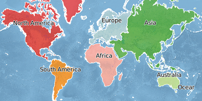 World Continents worldwide