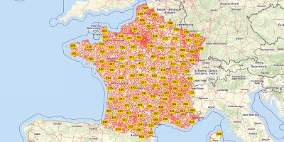 3-cijferige postcode Frankrijk