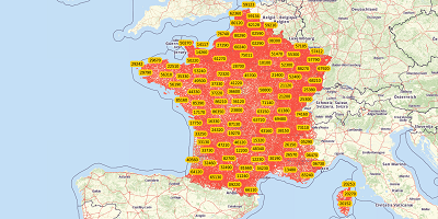 5-cijferige postcode Frankrijk