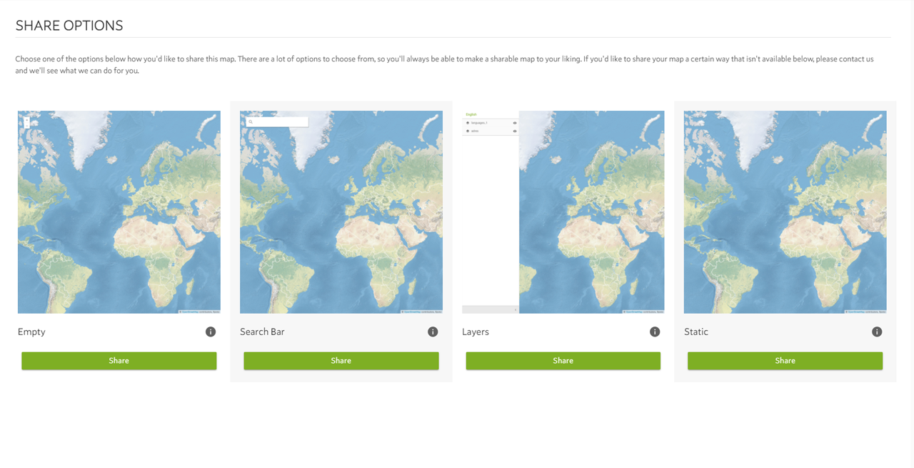 Publish, Sharing and Embedding Maps