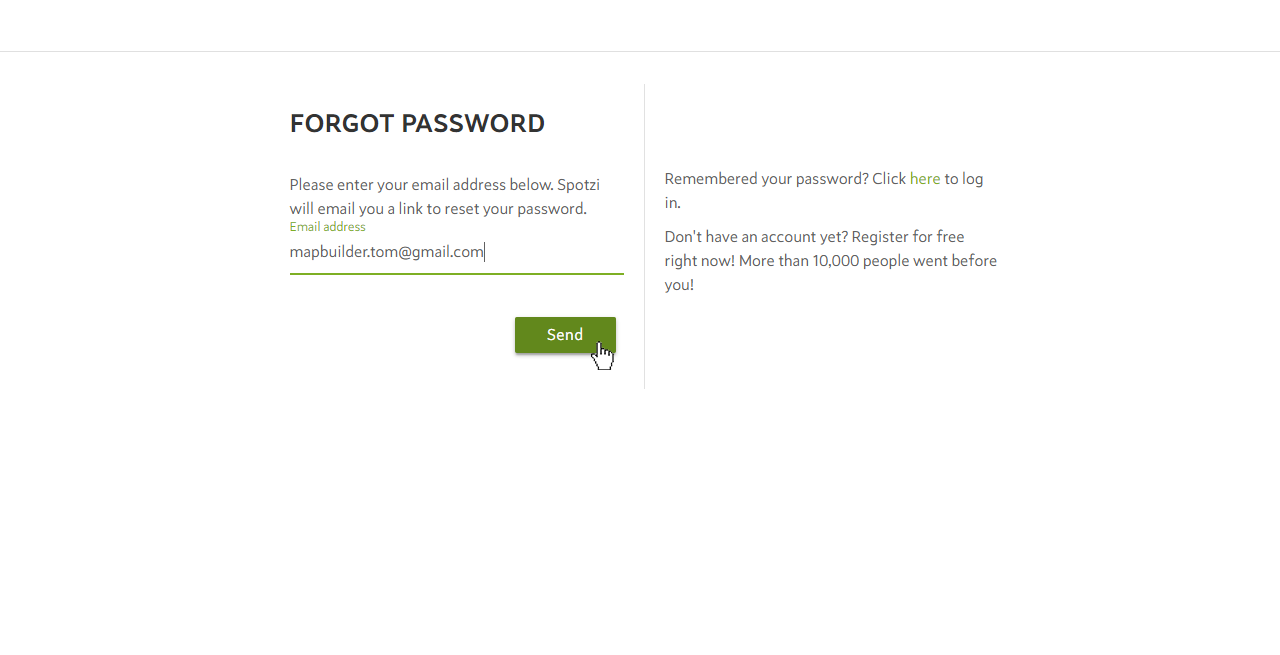 Forgot Password Spotzi