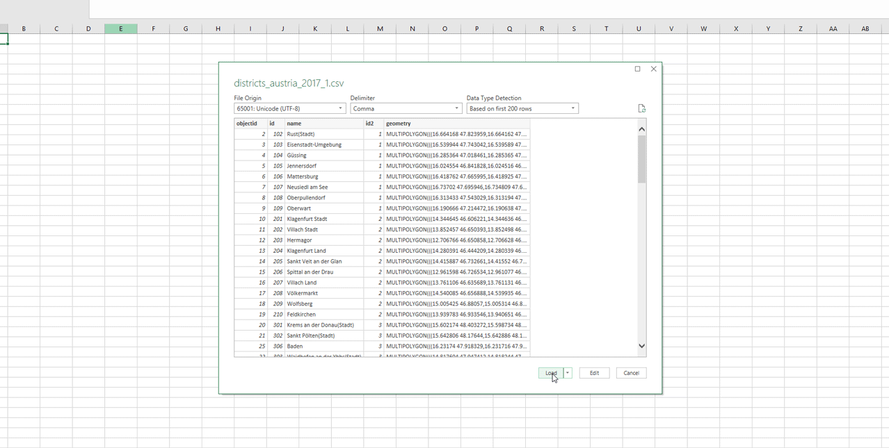 CSV without Geometry